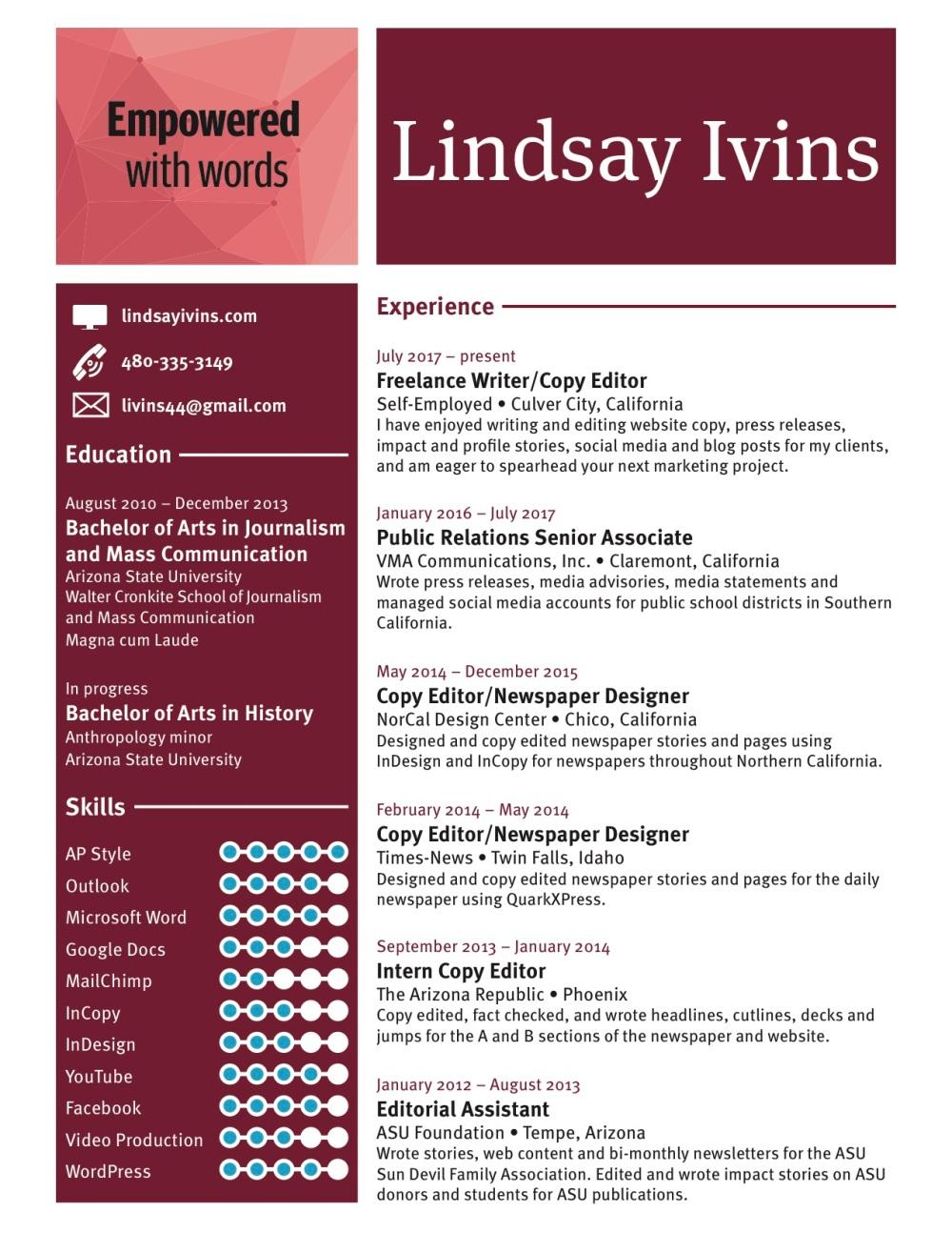 Resume Lindsay Ivins